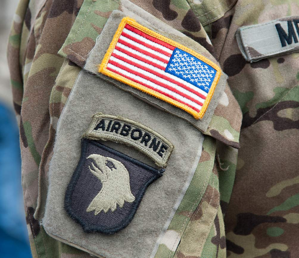 Airborne patch on shoulder of military uniform